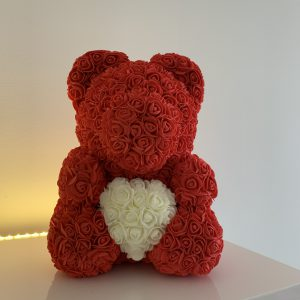 40 Centimeter Red & White Heart RoseBear