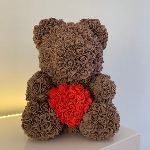 40 Centimeter Brown & Red Heart RoseBear