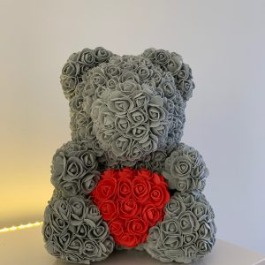 40 Centimeter Grey & Red Heart RoseBear