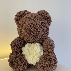 40 Centimeter Brown & White Heart RoseBear