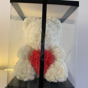 40 Centimeter White & Red Heart RoseBear