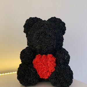 40 Centimeter Black & Red Heart RoseBear